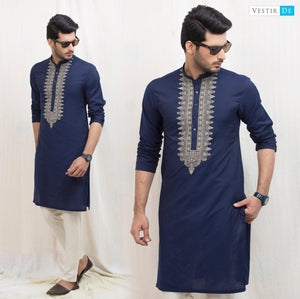 Navy Blue Embroidery Cotton Kurta - Vestir De