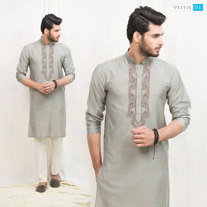 Sea Green Embroidery Cotton Kurta