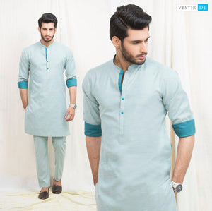 Chambray Green Cotton Kurta
