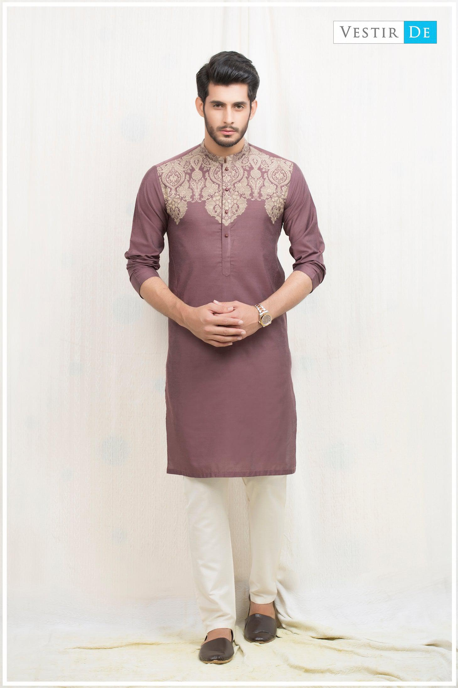 Phalsa Embroidery Cotton Kurta