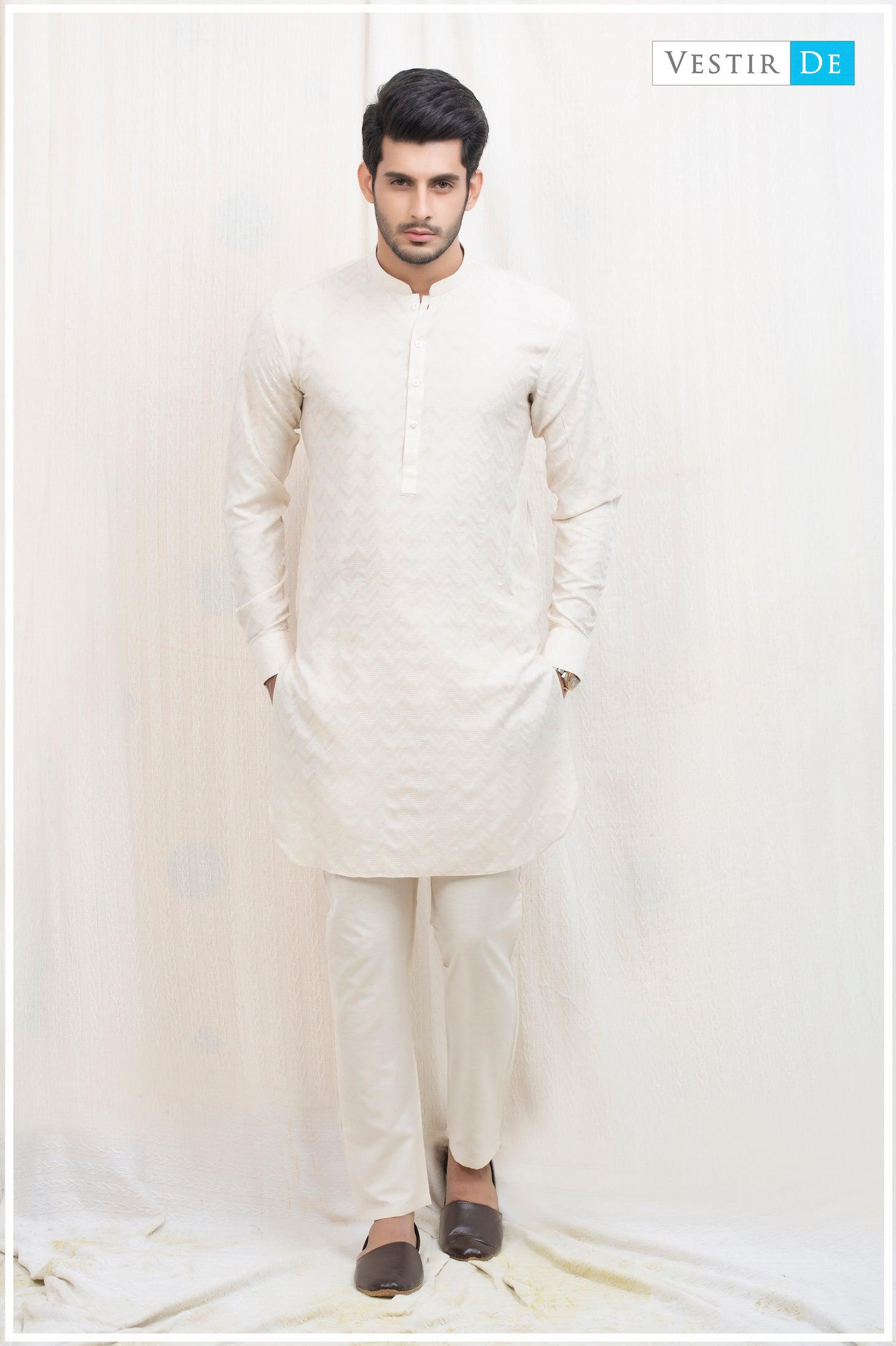 Creamy Textured Cotton Kurta