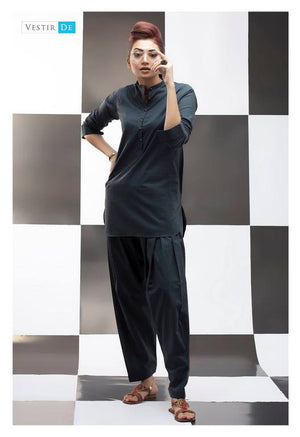 Charcoal Grey Kurti With Shalwar