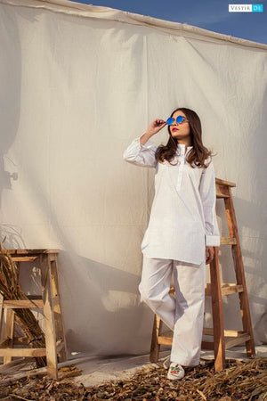 White With Black Lining Kurti Trouser