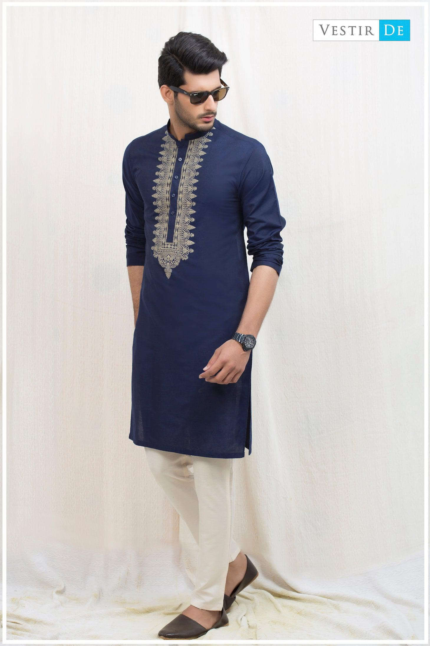Navy Blue Embroidery Cotton Kurta