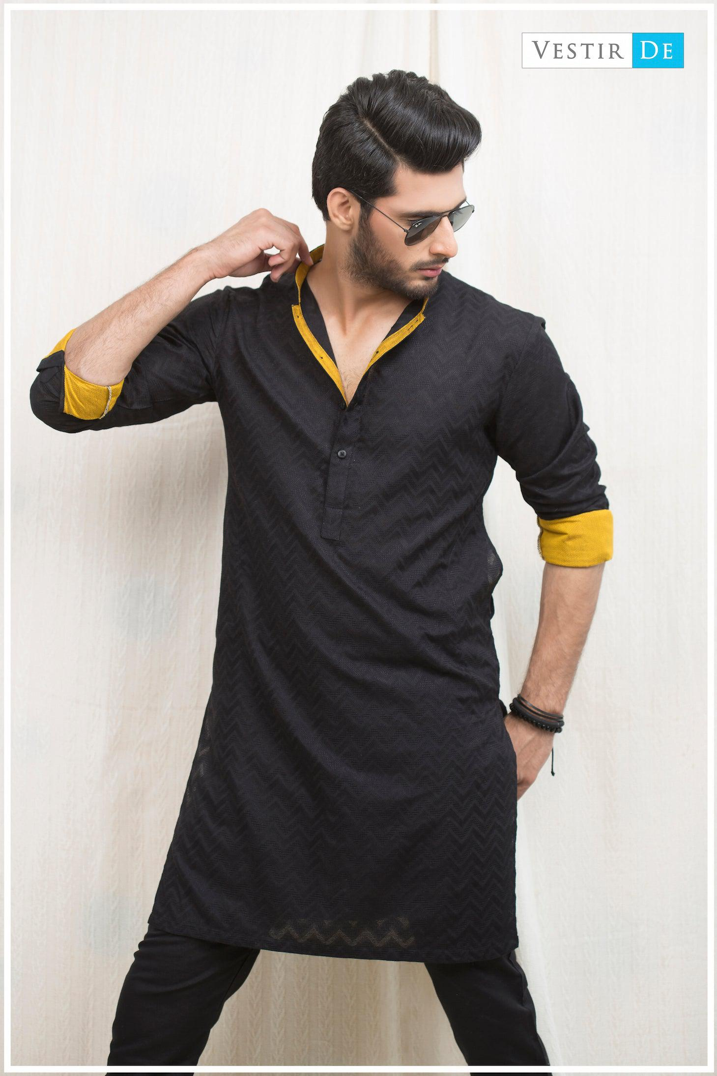 Black Textured Cotton Kurta - Vestir De