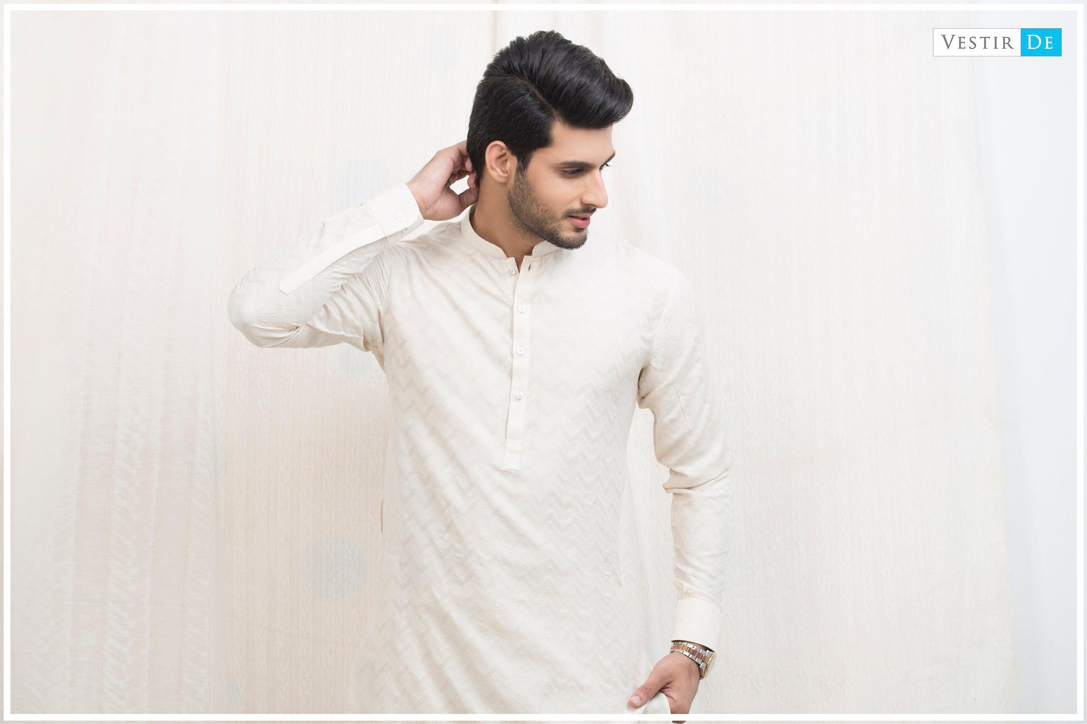 Creamy Textured Cotton Kurta - Vestir De