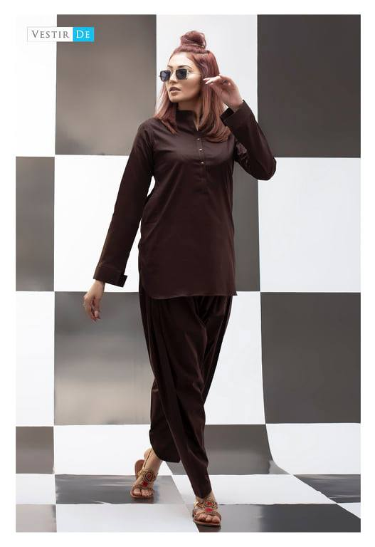 Choclate Brown Kurti With Shalwar