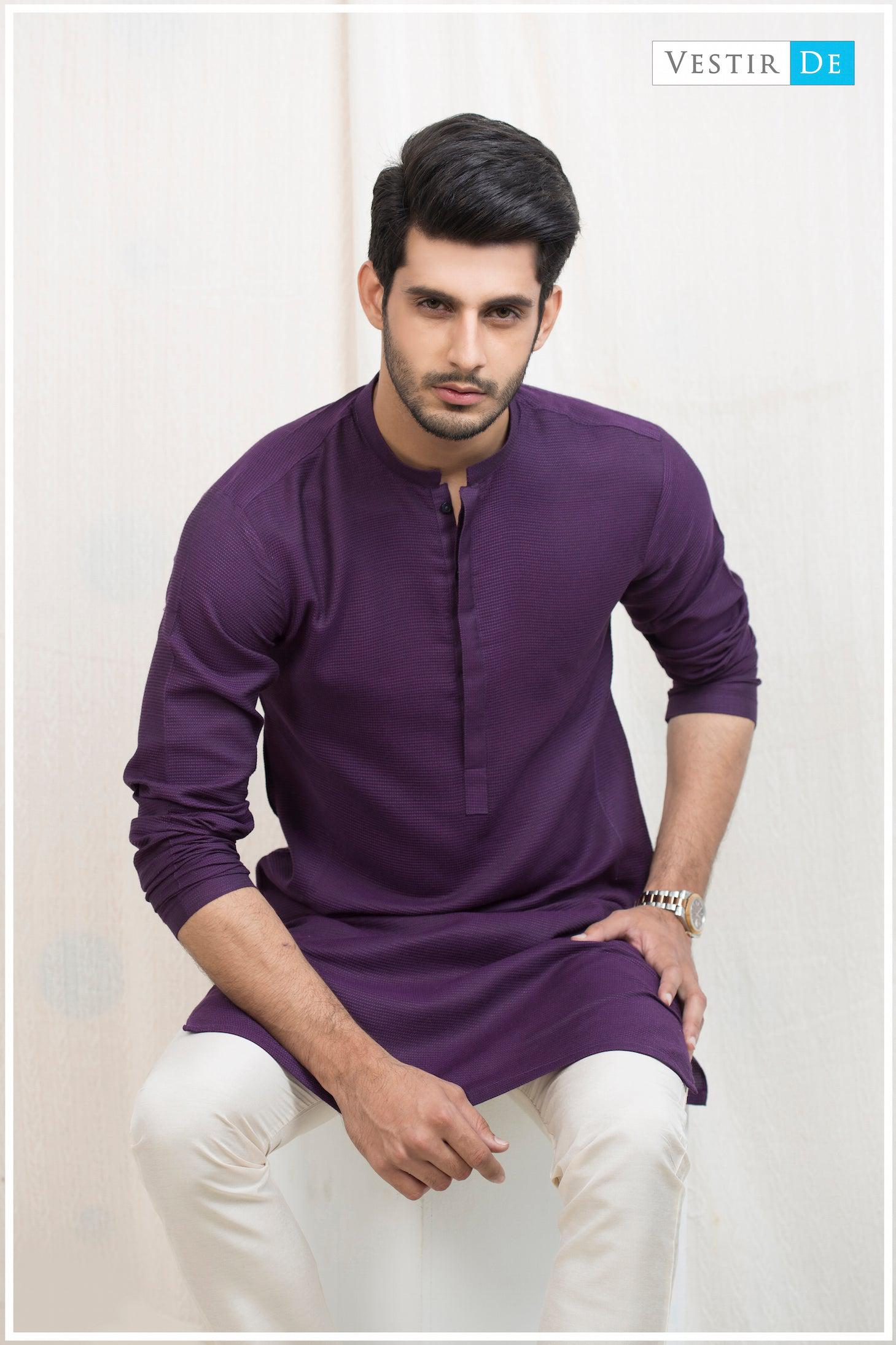 Purple Textured Cotton Kurta