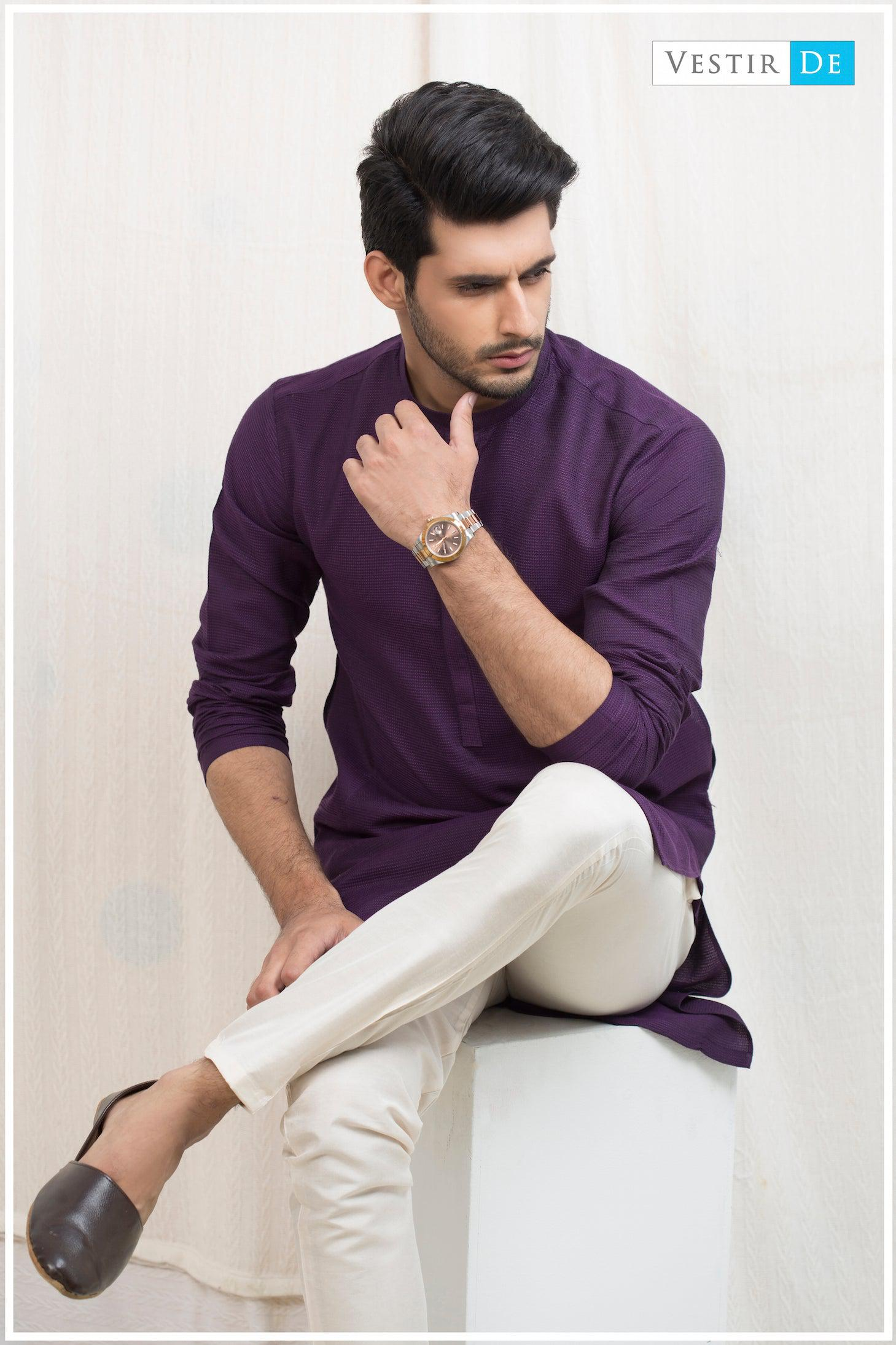 Purple Textured Cotton Kurta - Vestir De