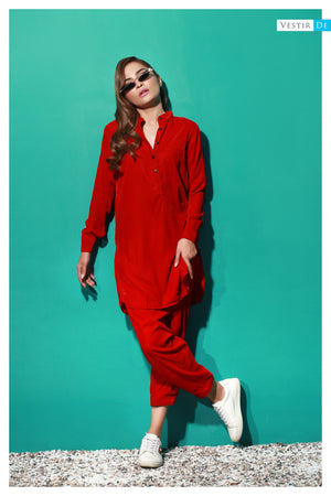 Candy Red Velvet Ban Collor Shalwar Kameez