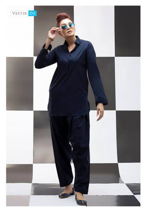Navy Blue Kurti With Shalwar