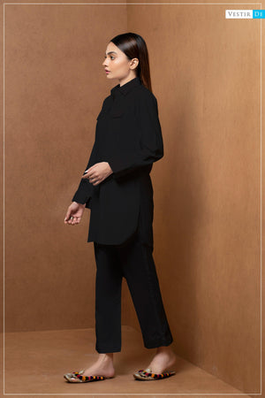 Black Shirt Collor With Trouser