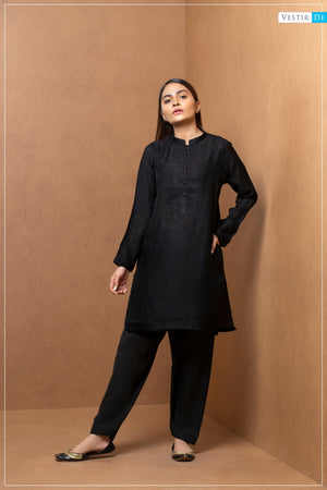 Black Embriodery Shirt With Shalwar - Vestir De