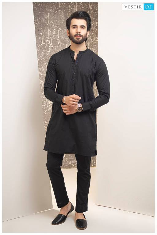 Black Kurta Trouser With Black Buttons
