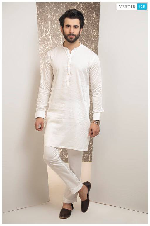 Creamy White Kurta Trouser With Golden Buttons