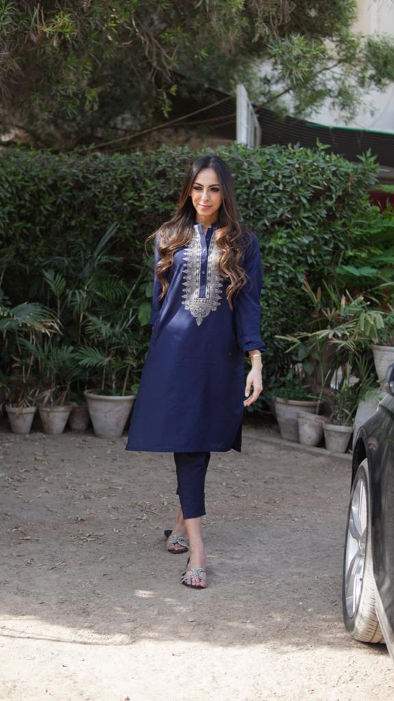 Navy Blue Cotton Silk With Beige Embriodery Kurta Trouser