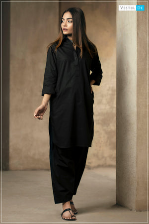 Black Cotton  Shalwar Kameez - Vestir De