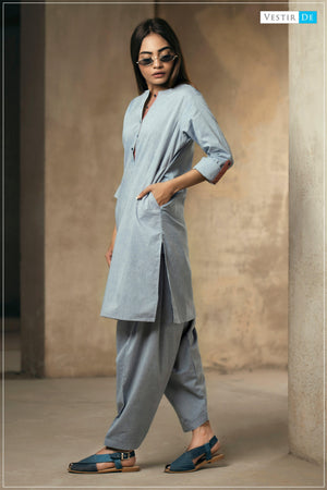 Denim Blue Chambray Shalwar Kameez