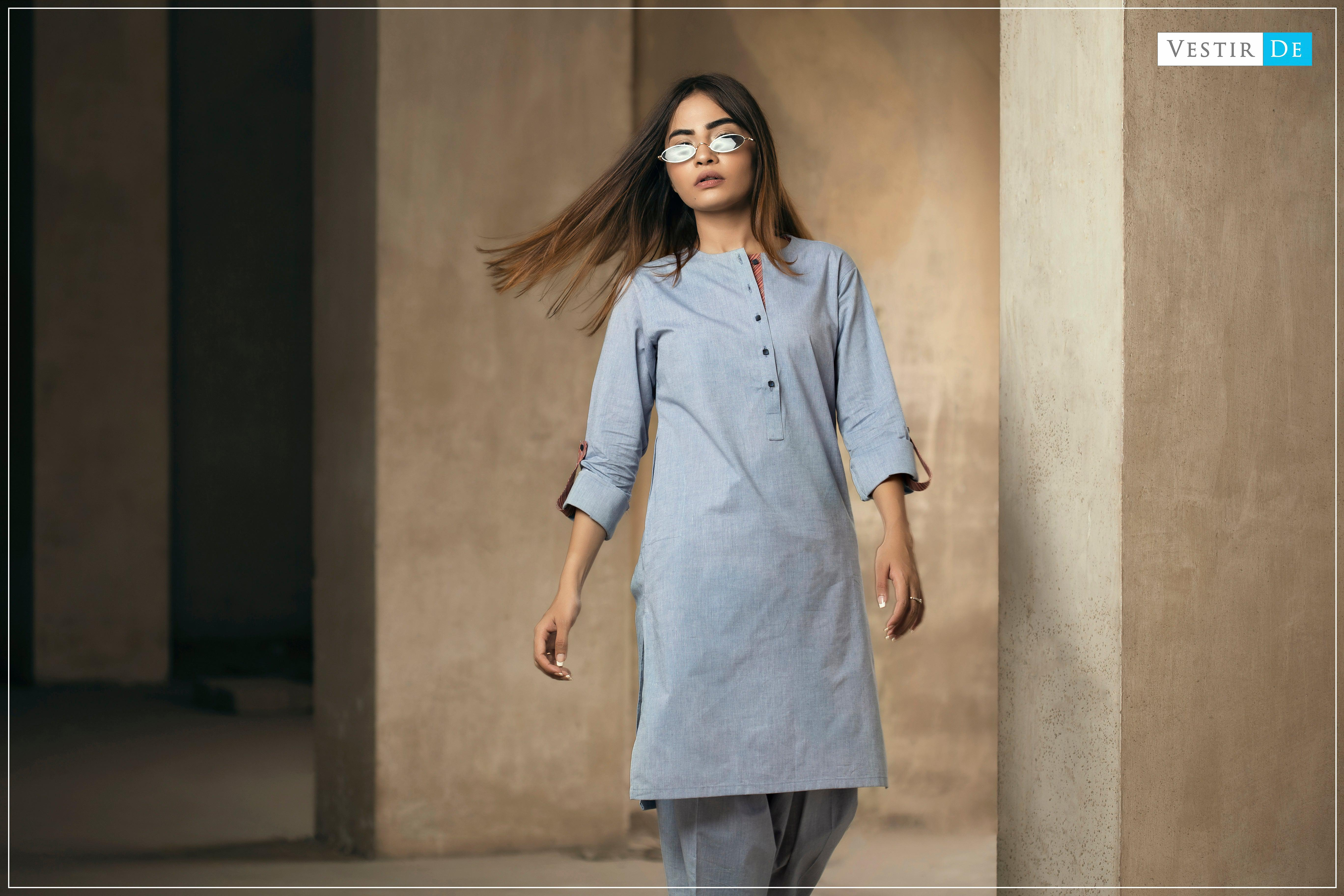 Denim Blue Chambray Shalwar Kameez - Vestir De