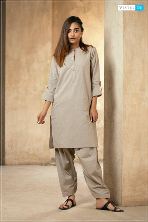 Beige Chambray Cotton Shalwar Kameez