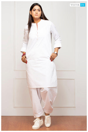 White magzi Cotton Shalwar Kameez