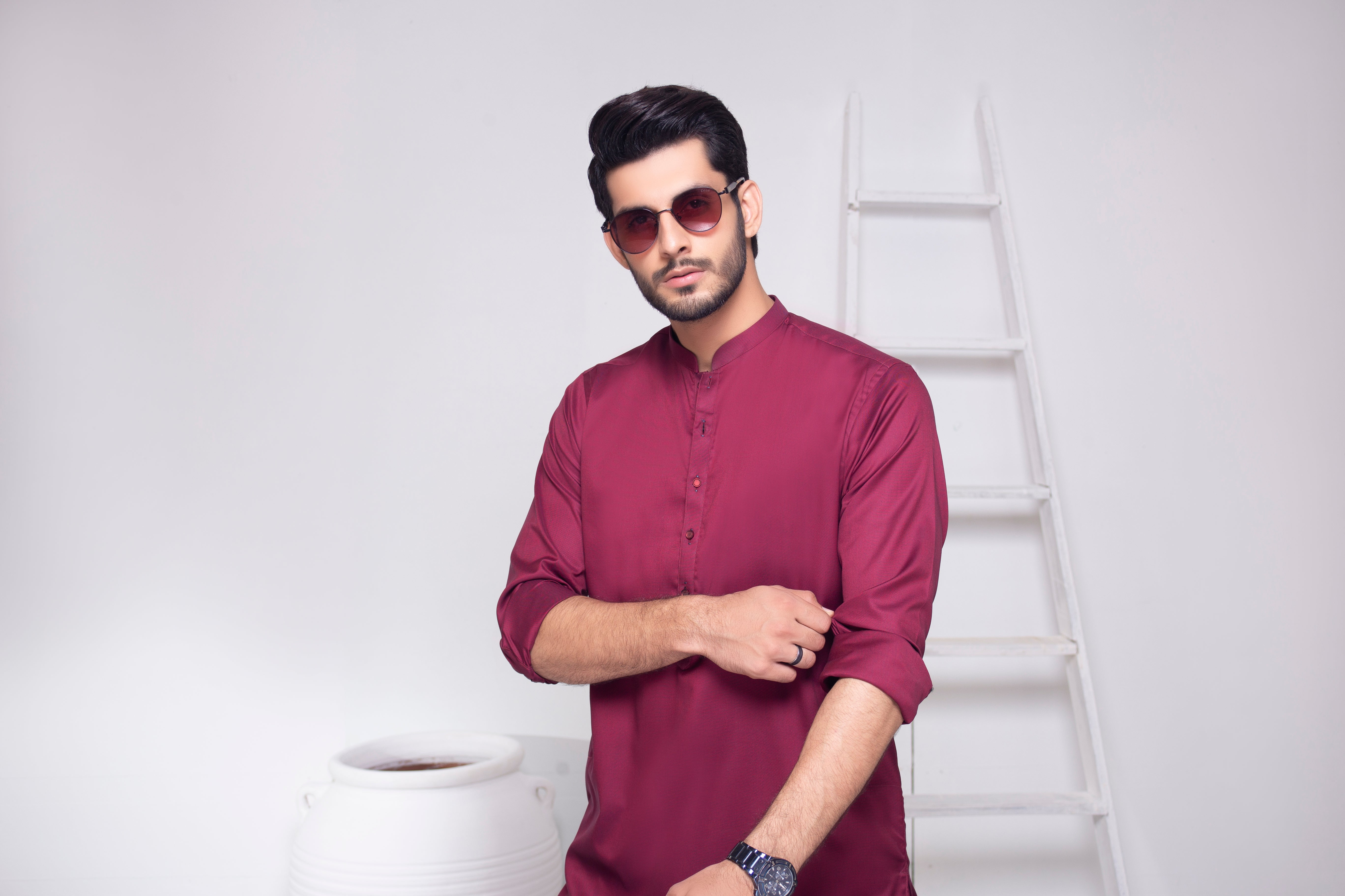 Mehroon Textured Kameez Shalwar