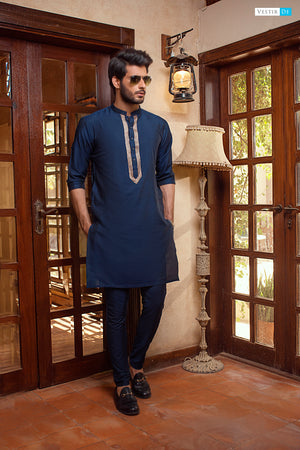 19 Blue Embroidery Kurta With Trouser