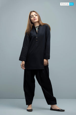 Black Ban Collor Cotton Shalwar Kameez