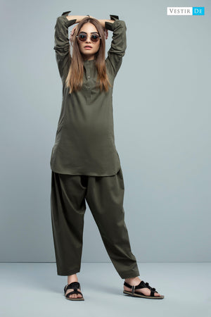 Olive Green Cotton Shalwar Kameez
