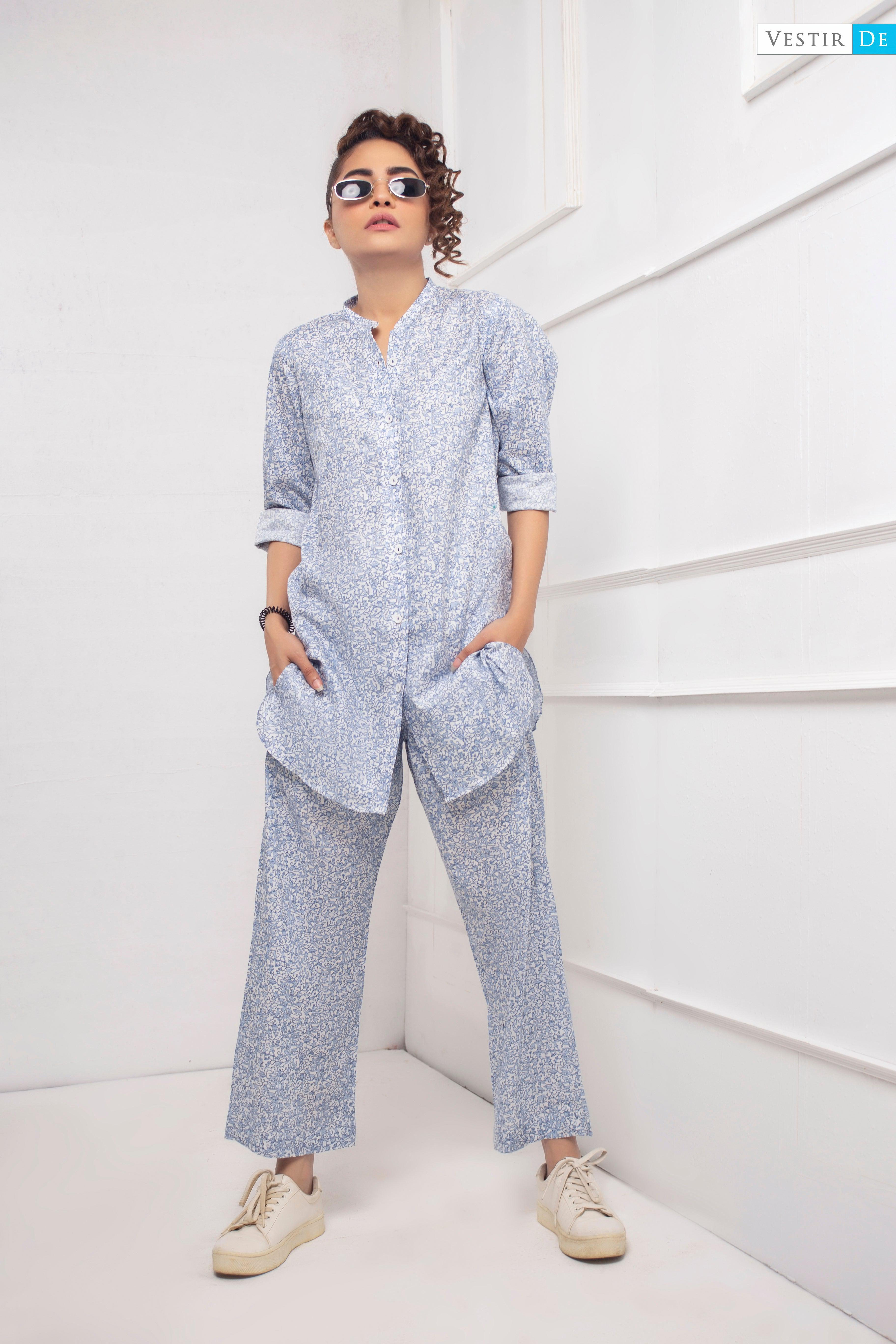 White & Blue Printed Shirt With Trouser