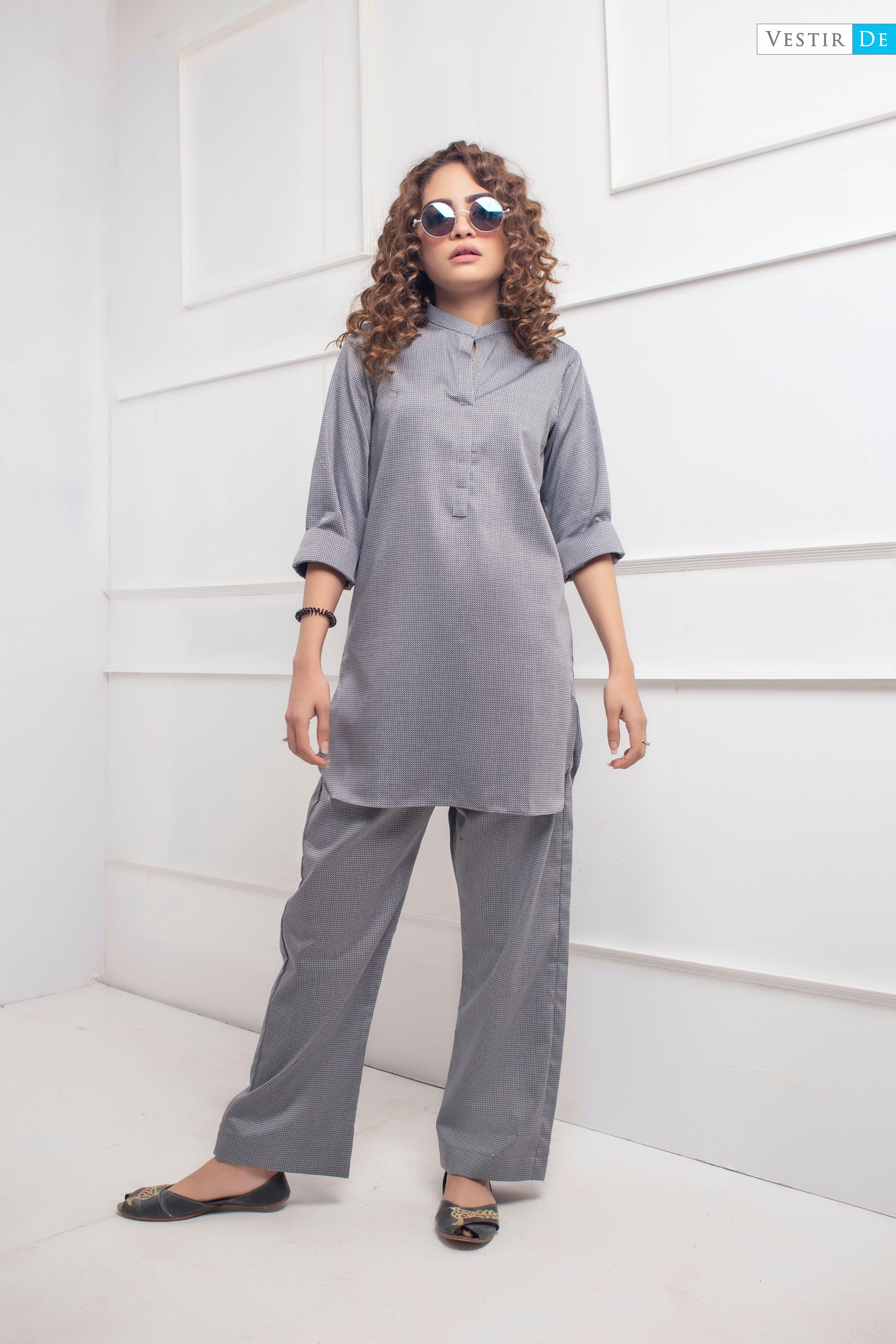 Grey Textured Shirt With Trouser - Vestir De
