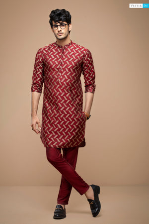 Mehroon Jacquard Textured Cotton
