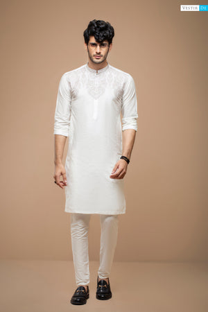 White Kurta With Skin Embriodery
