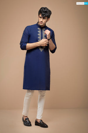 Blue Kurta With Beige Embriodery