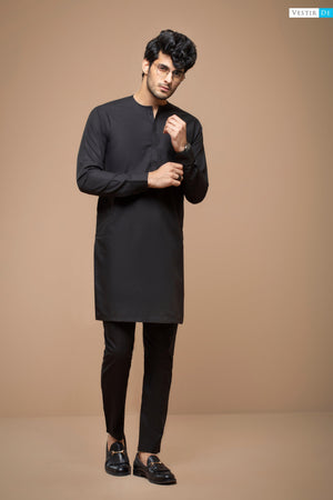 Black Magzi Kurta With Trouser - Vestir De