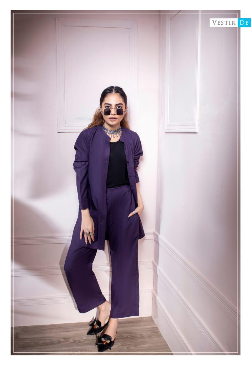 Purple Ban Collor Shirt With Trouser - Vestir De