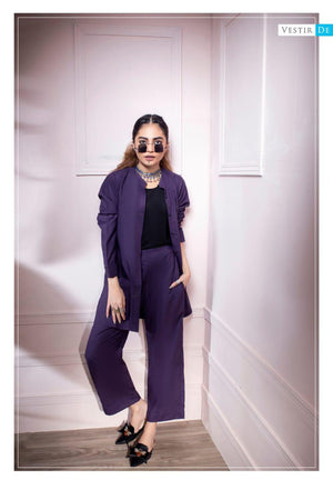 Purple Ban Collor Shirt With Trouser