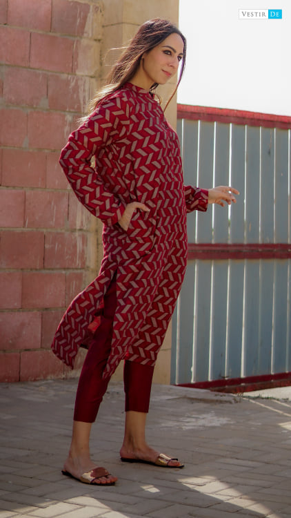 Red Jacquard Kurta With Trouser