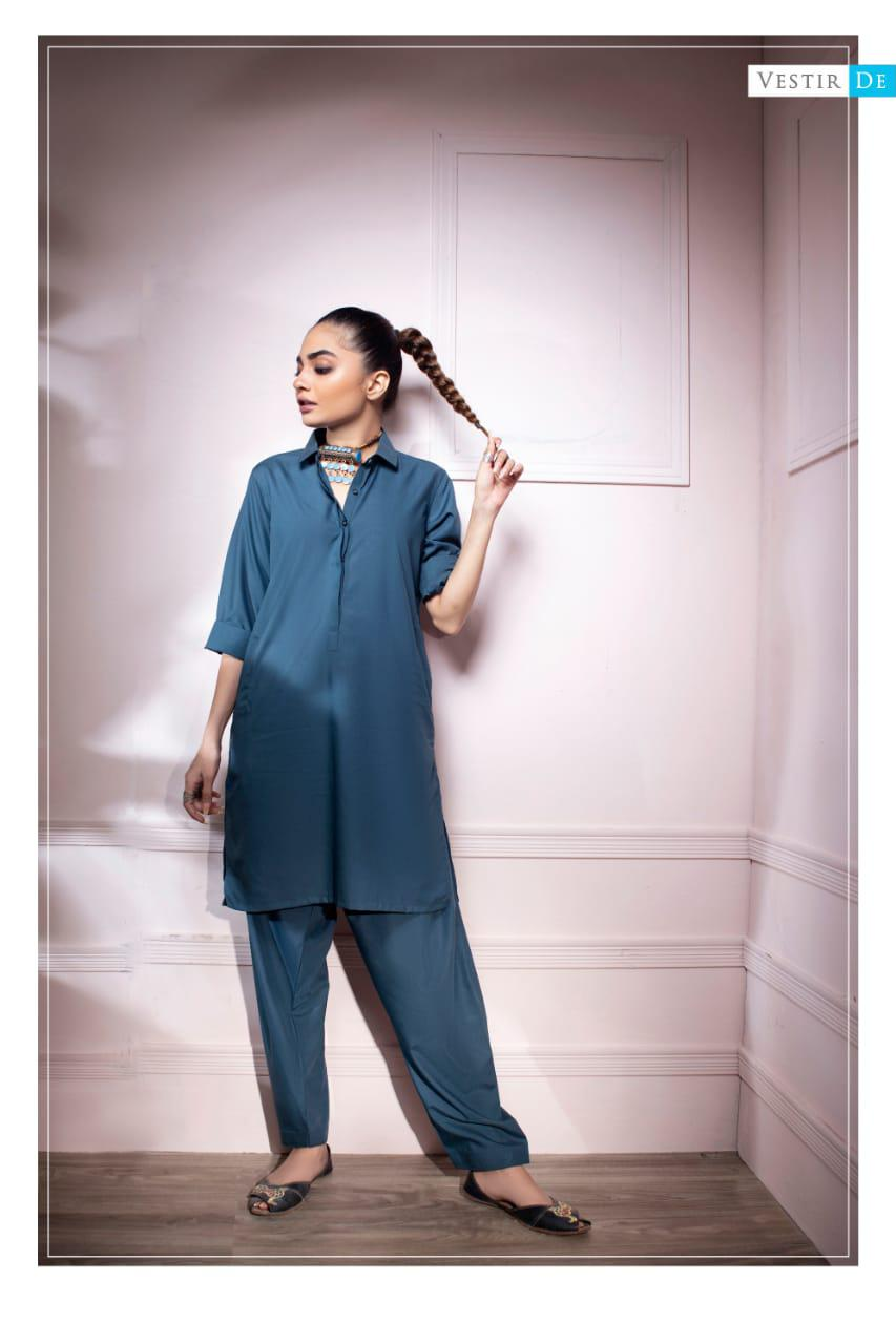 Steel Blue Shirt Collor Shalwar Kameez