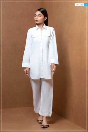 Creamy White Shirt Collor With Trouser