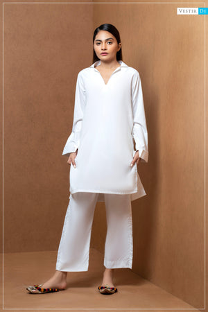 Creamy White Lapel Collor With Trouser - Vestir De
