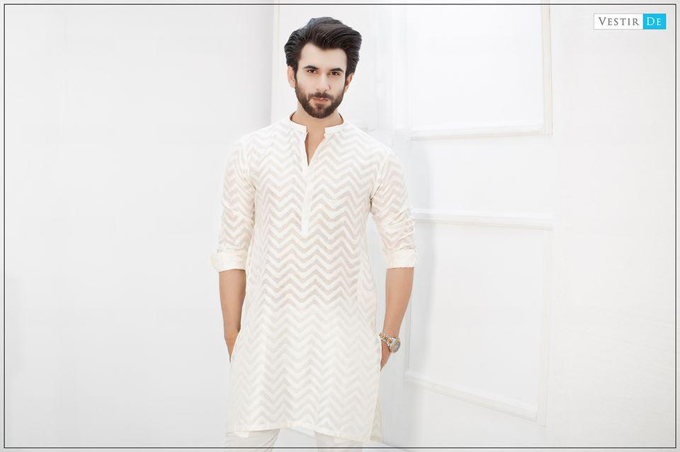 Creamy White Zigzag Kurta With Trouser