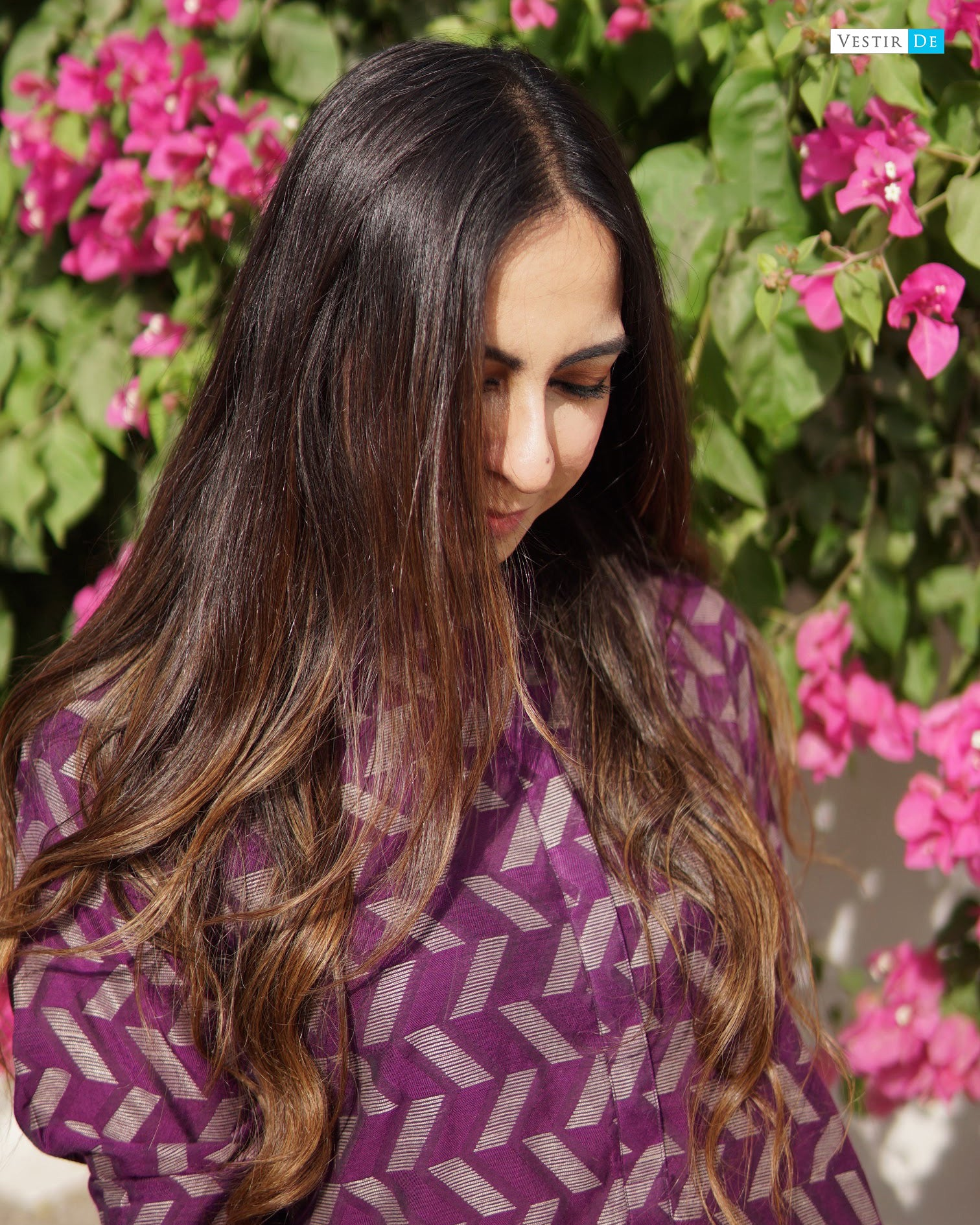 Purple Jacquard Kurta With Trouser