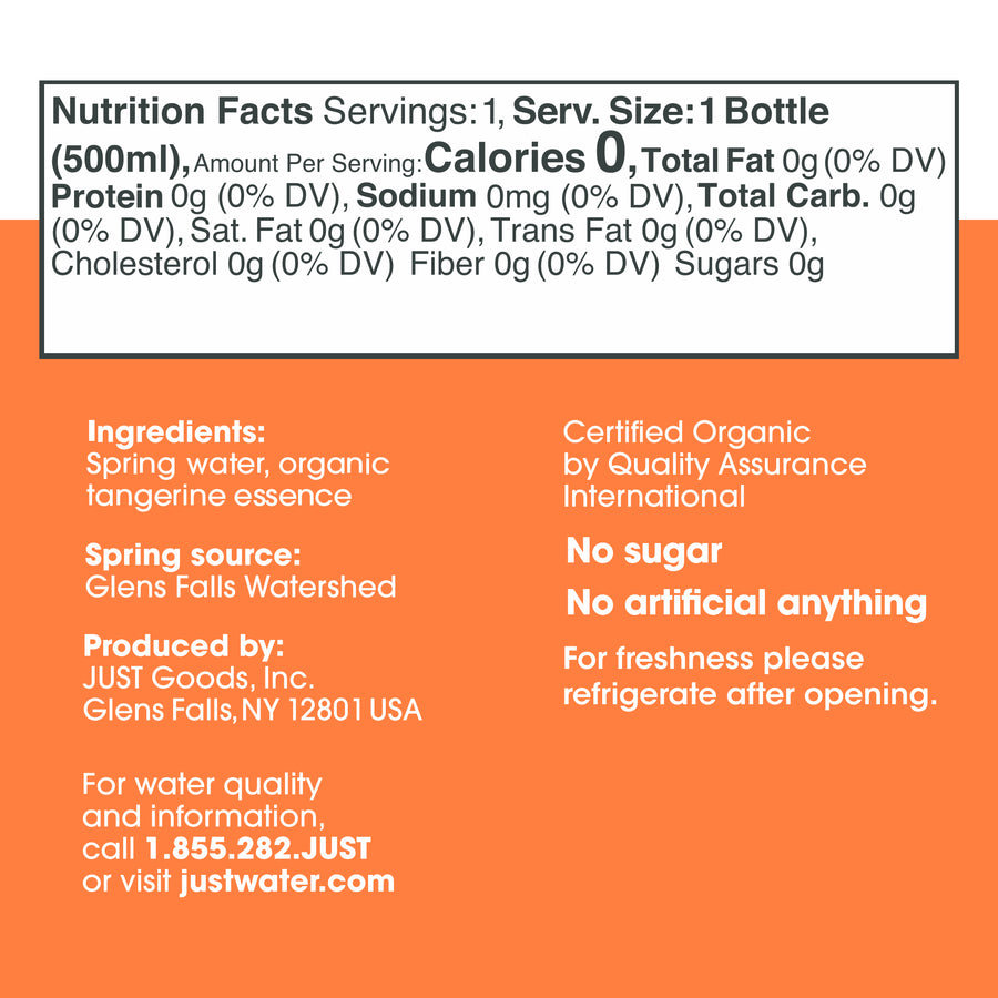 Organic Tangerine <br> 16.9 fl oz | 24 Pack - JUST WATER