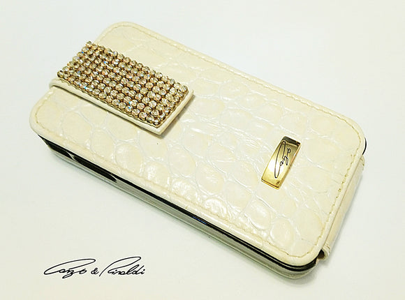 Beige small croco leather iPhone 4 case with gold Swarovski , Cell Phone Case , Cango&Rinaldi , Chic & Radiant Webstore