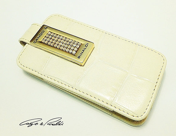 Beige big Croco leather iPhone 4 case with gold Swarovski crystals , Cell Phone Case , Cango&Rinaldi , Chic & Radiant Webstore