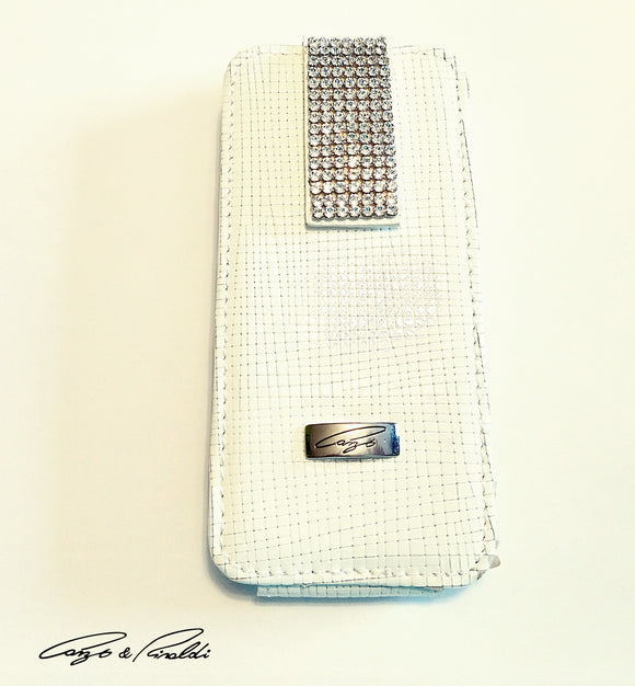 White leather iPhone 5 case with silver Swarovski crystals , Cell Phone Case , Cango&Rinaldi , Chic & Radiant Webstore