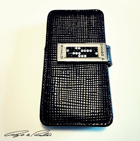 Black Leather iPhone 5 Case with silver and black Swarovski , Cell Phone Case , Cango&Rinaldi , Chic & Radiant Webstore