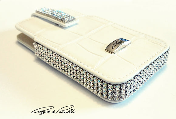 White leather iPhone 4 case with silver Swarovski crystals , Cell Phone Case , Cango&Rinaldi , Chic & Radiant Webstore