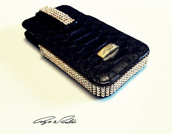 Black cayan leather iPhone 4 case with gold Swarovski crystals , Cell Phone Case , Cango&Rinaldi , Chic & Radiant Webstore